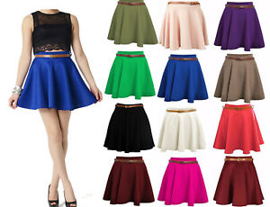 Womens-Mini-Skater-Skirt-Stretch-short-Viscose-Flared-Plain-Party-Formal