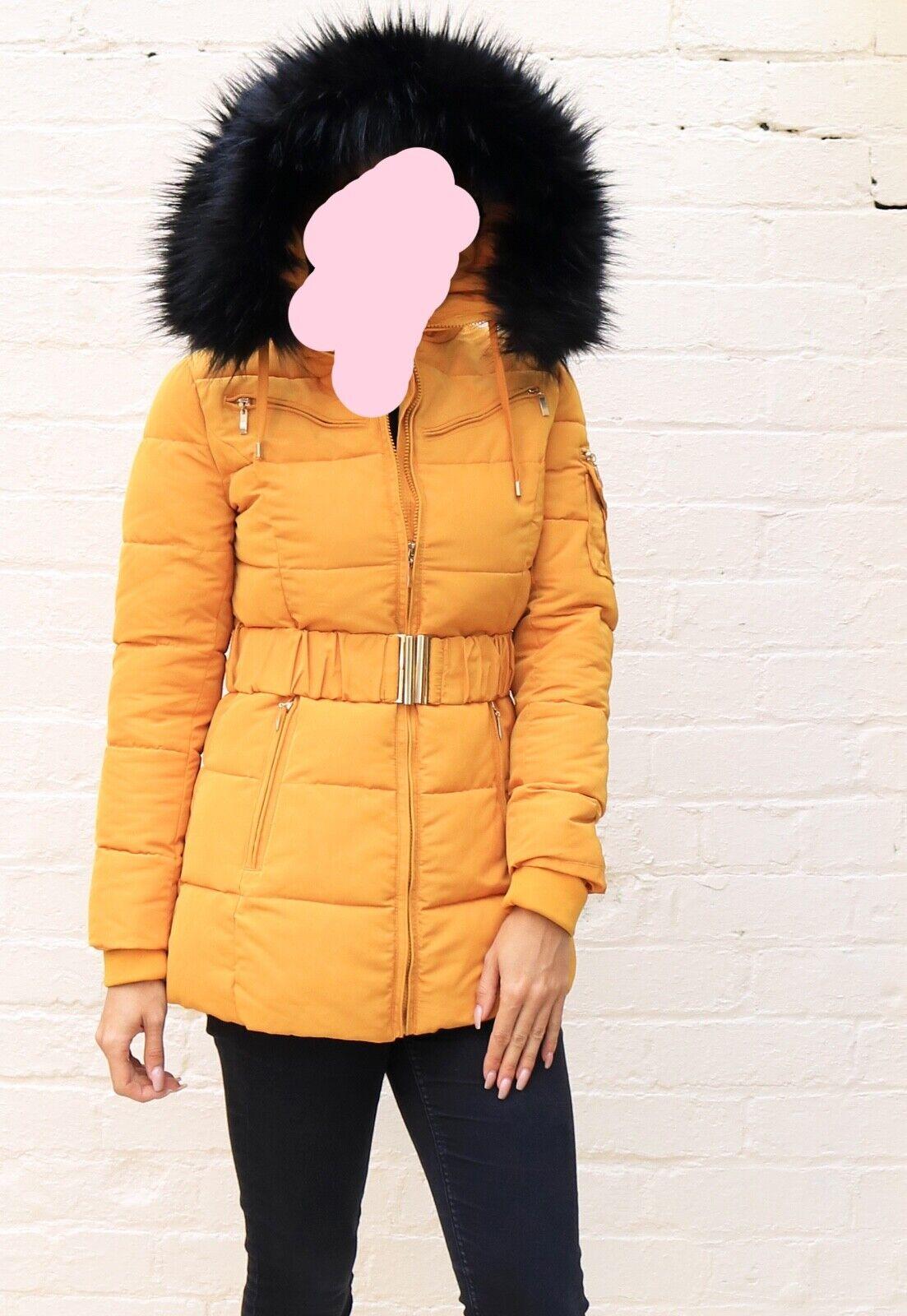Long Quilted Puffer Coat Hood Fur Trim Belt Mustard UK10 EX HIGHSTREET RRP