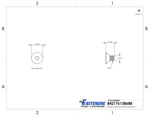 "1-64 x 1//8/"" Flat Head Socket Cap Screws Grade 8 Steel Black Oxide Qty 25"