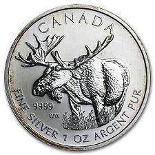2012 1 oz Silver Canadian Wildlife Series Moose (Abrasions) - SKU #76260