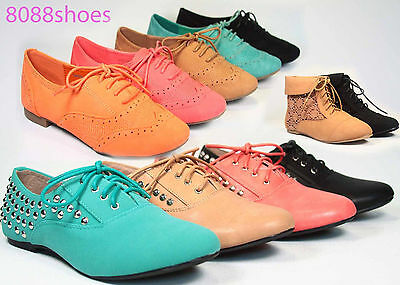 Women's Fashion Round Toe Rocker Lace Up Studded Spike Oxford Flat Shoes