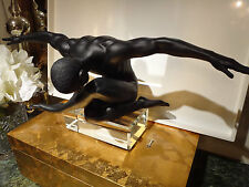 NEW$170 NUDE male statue Large sculpture YOGA Meditation Athletic muscular Black