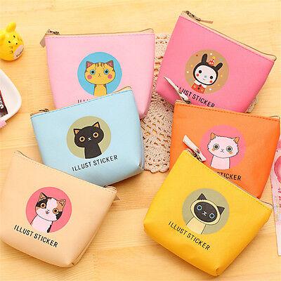 Girl's Small Handbag Zip Coin Bag Case Key Card Holder Purse Wallet Cute Cat g9