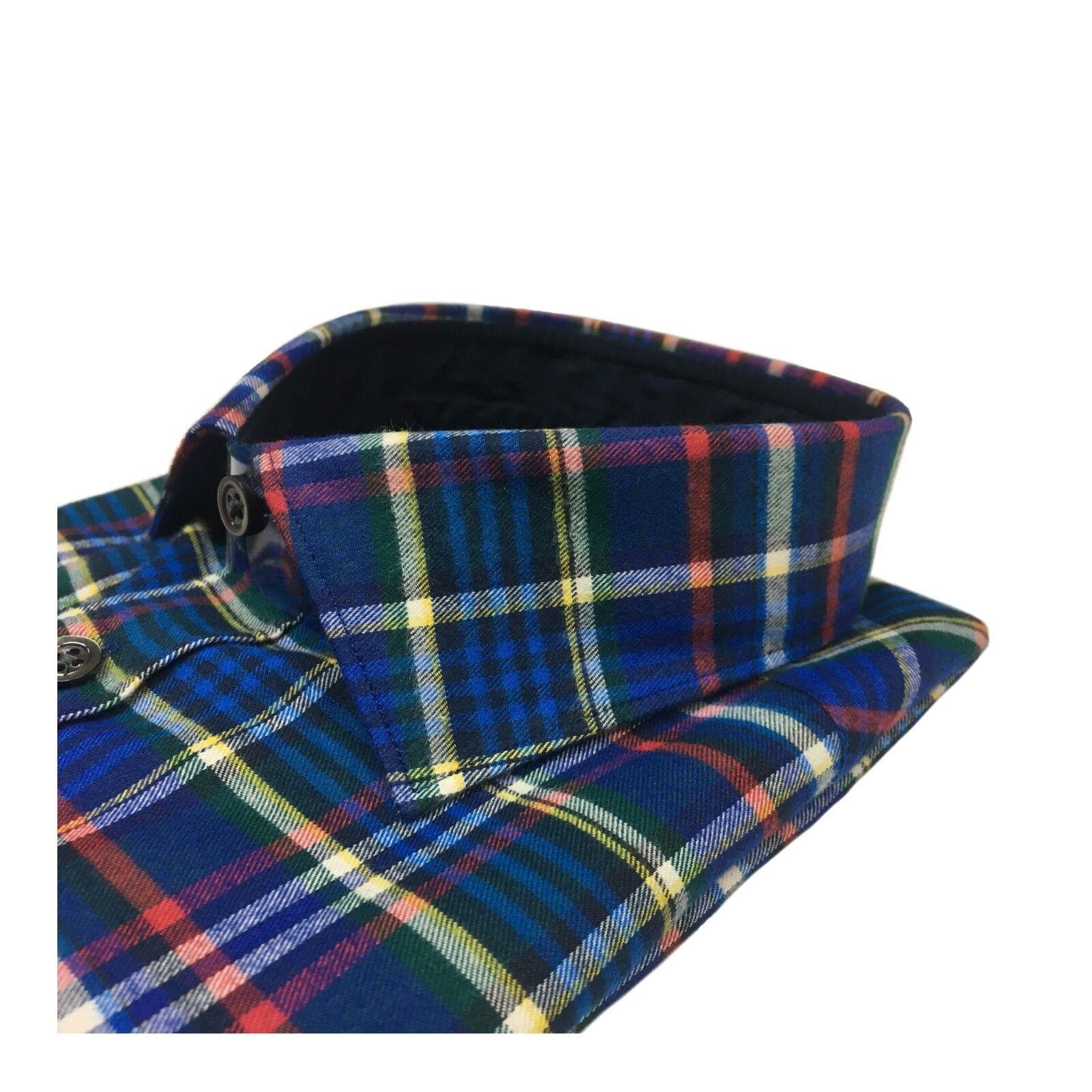 BRANCACCIO Herrenhemd Winter blau rot 100% Baumwolle RANGER 6605 6605 6605 BA41602     | Modern Und Elegant  5b3d6e