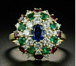 3-50-Ct-Diamond-Sapphire-Emerald-and-Ruby-Multi-Color-Ring-18K-Yellow-Gold-Over