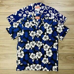 RJC-Men-039-s-Hawaiian-Aloha-Blue-Shirt-Island-Tropical-Floral-Medium-LOT-OF-2x