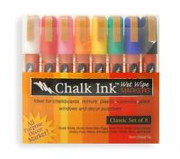 Chalk Ink 6mm Classic Wet Wipe Markers, 8-pack , New, Free Shipping