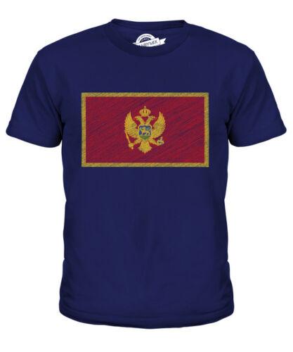 MONTENEGRO SCRIBBLE FLAG KIDS T-SHIRT TEE TOP GIFT CRNA GORA MONTENEGRIN