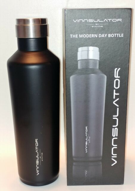 STRATOS Vinnsulator Double Wall Insulated Tumbler Water Bottle /& Thermos Powder Coated /& Heavy Duty Stainless Steel Black, 25 oz