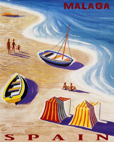 POSTER MALAGA SPAIN BEACH FUN SAILBOAT SEA SUMMER TRAVEL VINTAGE REPRO FREE S//H