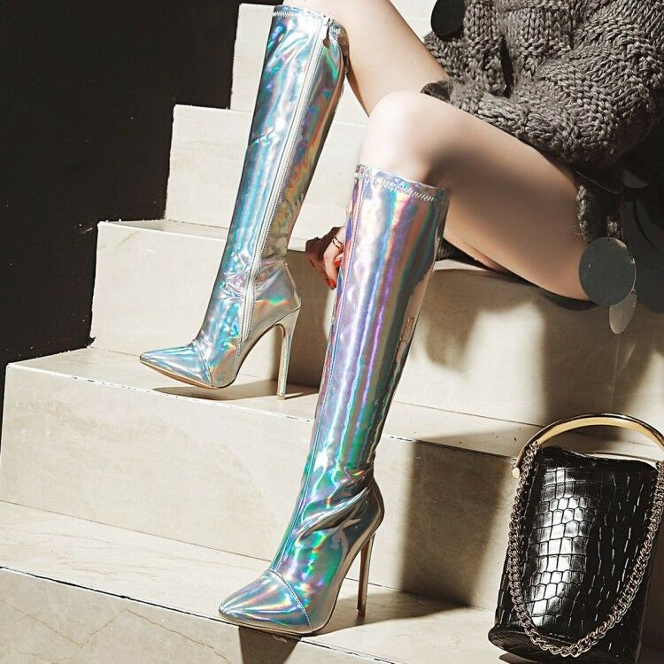 Women Sexy Shiny Pointed Toe Over the Knee Boots High Heel Zipper Stilettos shoes