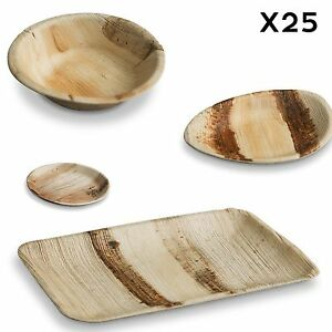 Image is loading 25-x-PALM-LEAF-BOWLS-PLATES-Wood-Look-  sc 1 st  eBay & 25 x PALM LEAF BOWLS PLATES - Wood Look Eco Friendly Bamboo Pine ...