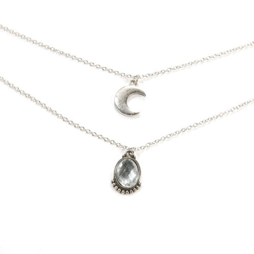 Boho Charm Women Multi-layer Moon Pendant Crystal Silver Chain Necklace Jewelry