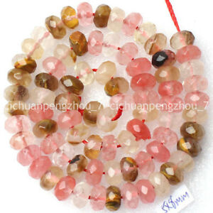 Faceted-5x8mm-Multi-Color-Watermelon-Tourmaline-Gems-Rondelle-Loose-Beads-15-039-039