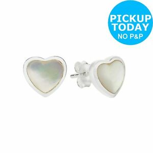 219bcdb8b0063d Revere Sterling Silver Mother of Pearl Heart Stud Earrings   eBay