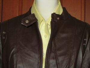 QUEENSPARK-MOTOCYCLE-ZIP-LEATHER-JACKET-Size-12-chocolate-brown-solid-new-tag