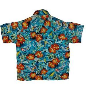 Vintage Aloha shirts Loop Kragen Hawaii Shirt Größe M Blau Rayon Wahine
