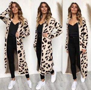 Details about UK Women's Autumn Leopard Print Cardigan Coat Tops Sweater Jumper Jacket Outwear