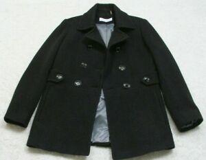 Wool-Jacket-Coat-Six-6-Women-039-s-Lined-Solid-Calvin-Klein-Charcoal-Gray-Winter