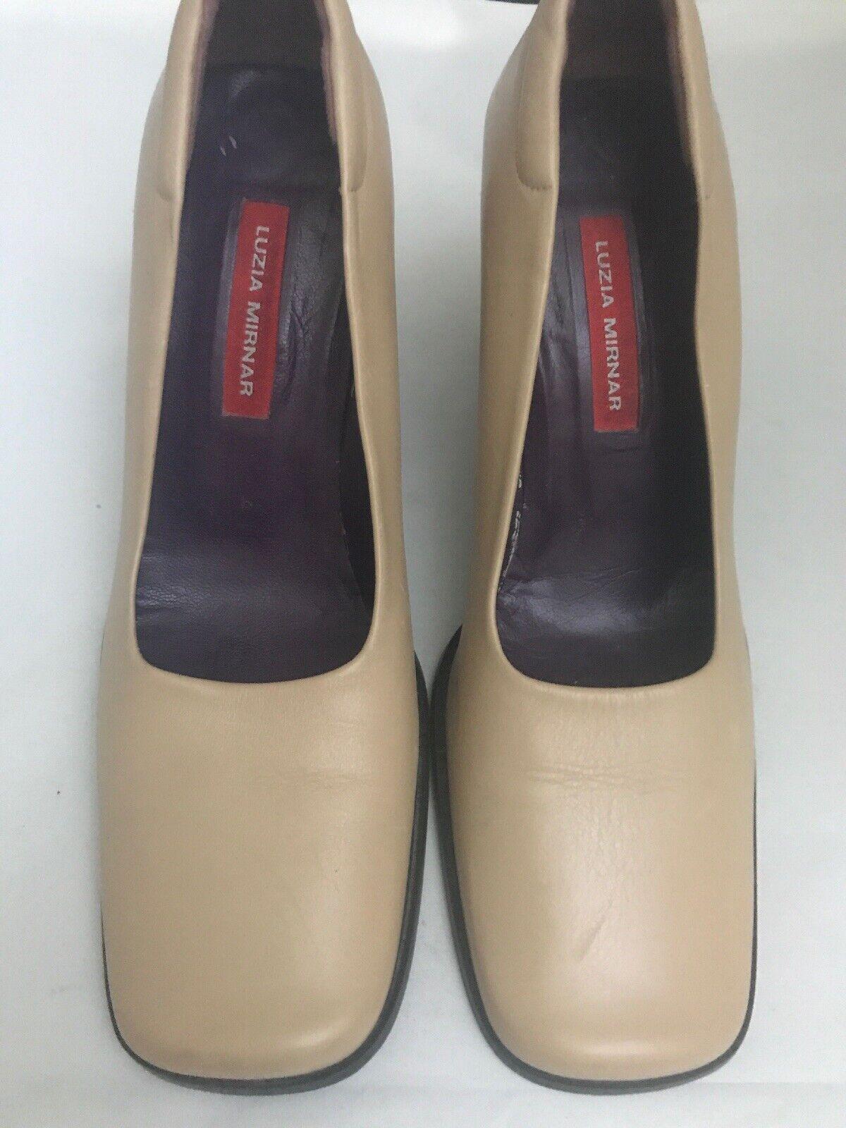 Luzia Mirnar Women's Tan Leather Square Toe Pumps… - image 3