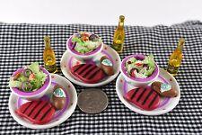 Tyco Kitchen Littles Steak Dinner Miniature Food New Dollhouse Accessories LOT