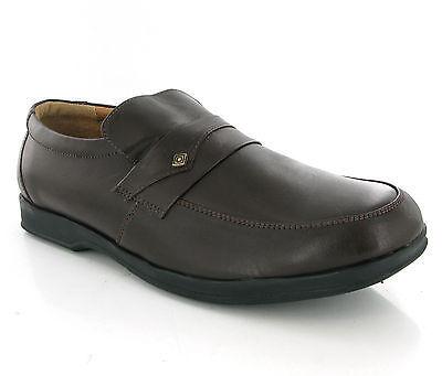 Cuero Sin Cordones Hombre Negro O Marrón Casual Formal Zapatos Talla 6-12