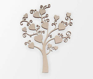Wooden Shape Tree of Hearts - Wooden Cut Out, Wall Art, Home Decor, Wall Hanging