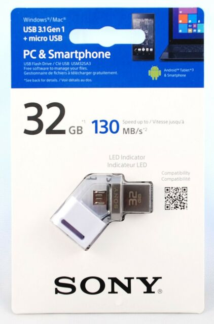 White Sony 64GB OTG On-The-Go USB 3.0 Stick with LED for Android Devices