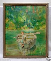 "Rodarty Vintage Canvas Panel Oil Painting ""Boy on Boat"" w. Vintage Wood Frame"