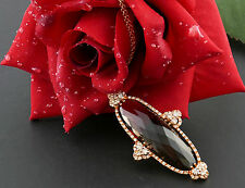 Collier Rot Gold 750 necklace Rauchquartz Brillant 1,50 ct diamond WEMPE Zertif.