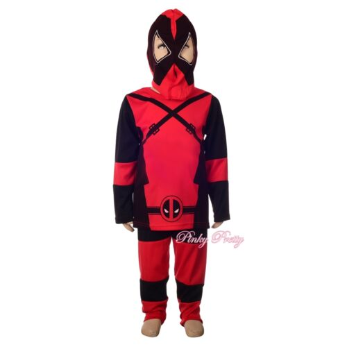 Deadpool Costume Fancy Dress Superhero Costume Halloween Outfit Kid Sz 4-5y #048