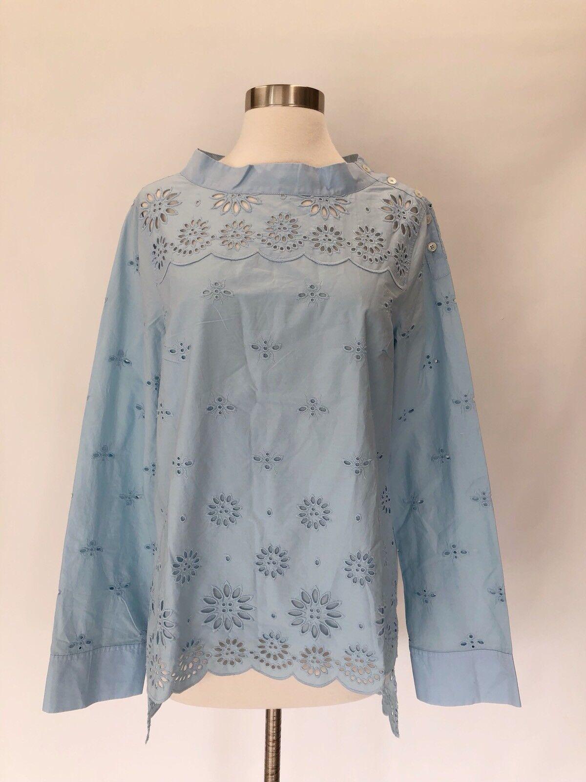 New J.Crew Tall Funnelneck shirt top blouse in eyelet Misty Blau Größe 4T 4 H7574