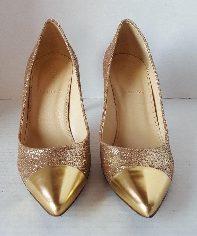 J.CREW WOMEN'S HIGH HEEL POINTY TOE PUMPS gold GLITTER TOE CAPS 7.5  250