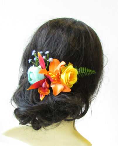 Caribbean Flower Hair Comb Orchid Rose Red Orange Fern Leaf Tropical Clip 1576