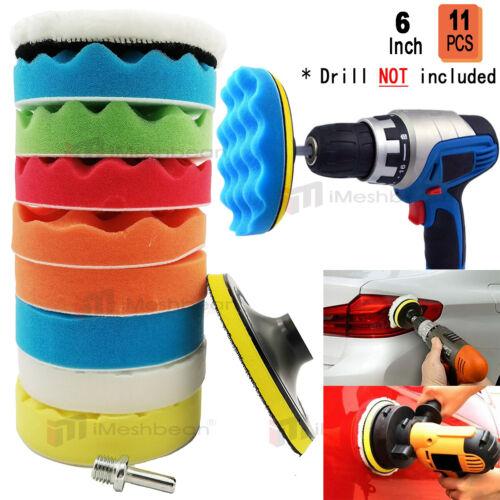 11Pc 6 In Polishing Pads Sponge Woolen Waxing Buffing Pad Kits M14 Drill Adapter