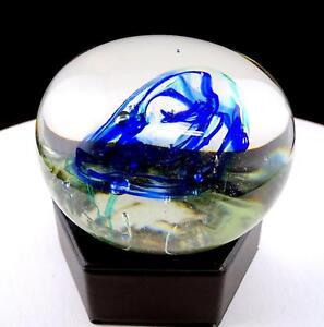 Studio-Art-Cristal-Vidrio-Transparente-con-Azul-y-Verde-Color-Wisps-9-5cm