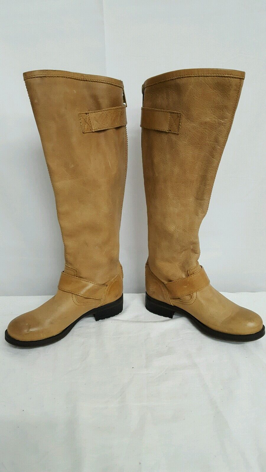 STEVE MADDEN BARTON BUCKLE LEATHER MOTORCYCLE RIDING BOOT BEIGE SZ 5 NEW   160