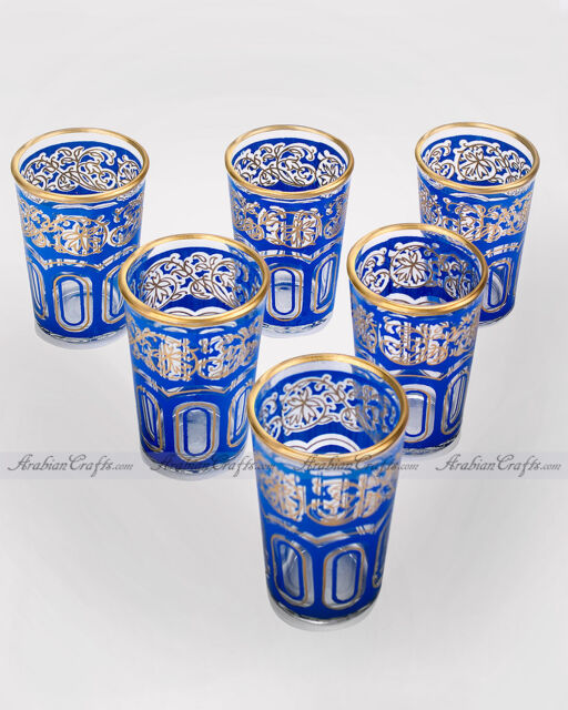 6 Arabic Glasses - Colorful Set of Moroccan DEEP BLUE Tea, Wine or Shot Glasses