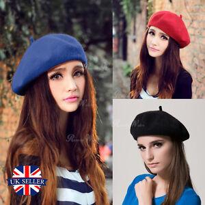Classique-Solide-hiver-francais-style-beret-ARTISTE-CHAPEAU-decontracte-Femme