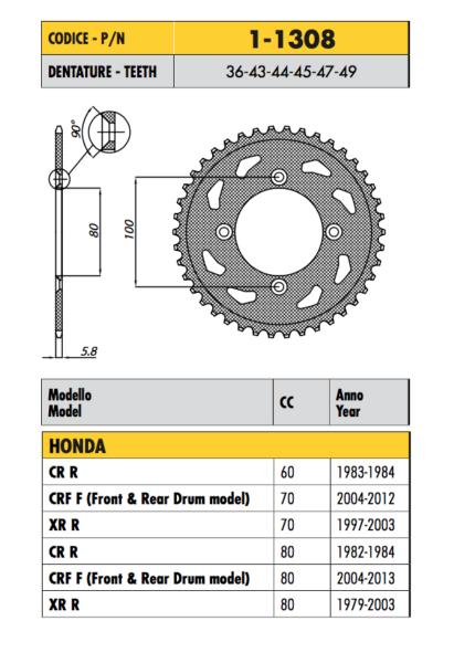 1-1308 - Corona Passo 420 Per Honda 70 Crf F (front & Rear Drum Model) 2004-2012