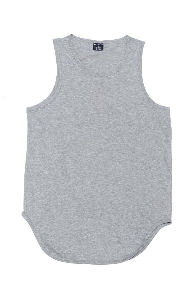 37dae99955e2c Victorious Solid Color Long Length Curved Hem Tank Top Tt47 - A4d Grey Xx- large for sale online