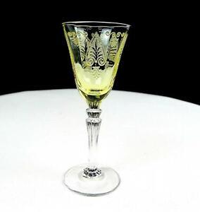 FOSTORIA-5099-TROJAN-280-ETCH-TOPAZ-amp-CLEAR-ELEGANT-GLASS-3-7-8-034-CORDIAL-1928