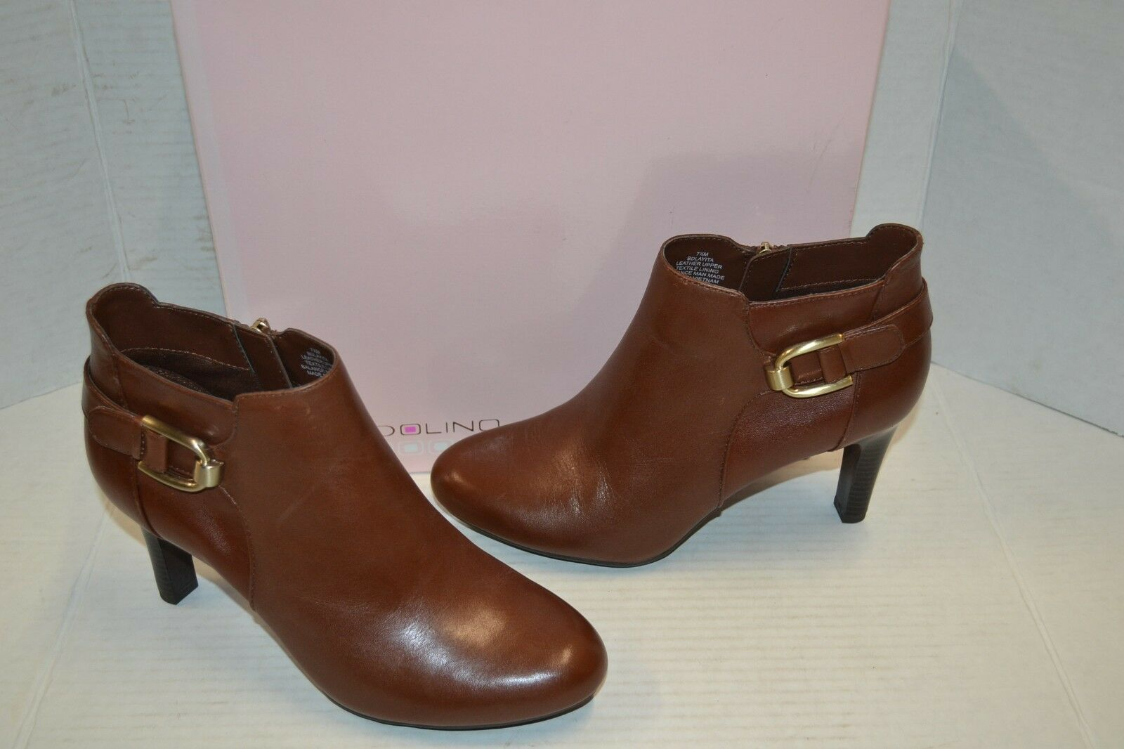 Bandolino Layita Round Toe 7.5 Leder FASHION ZIP BUCKLE 7.5 Toe M BROWN ANKLE Bootie 61d248