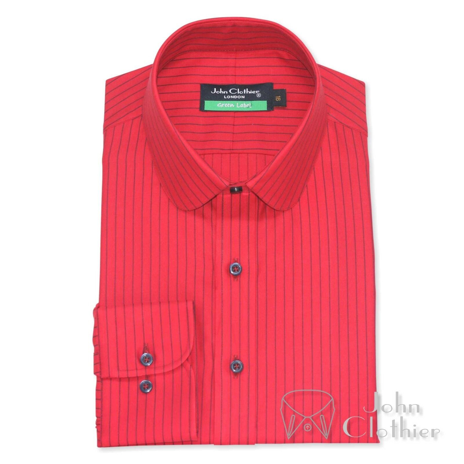 Herren Penny collar Cotton shirt ROT with Blau stripes Club Round collar for Gents