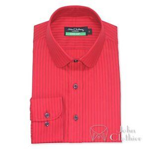 hombre-cuello-PENNY-Camisa-De-Algodon-Rojo-Con-Azul-Rayas-Club-Redondo-para