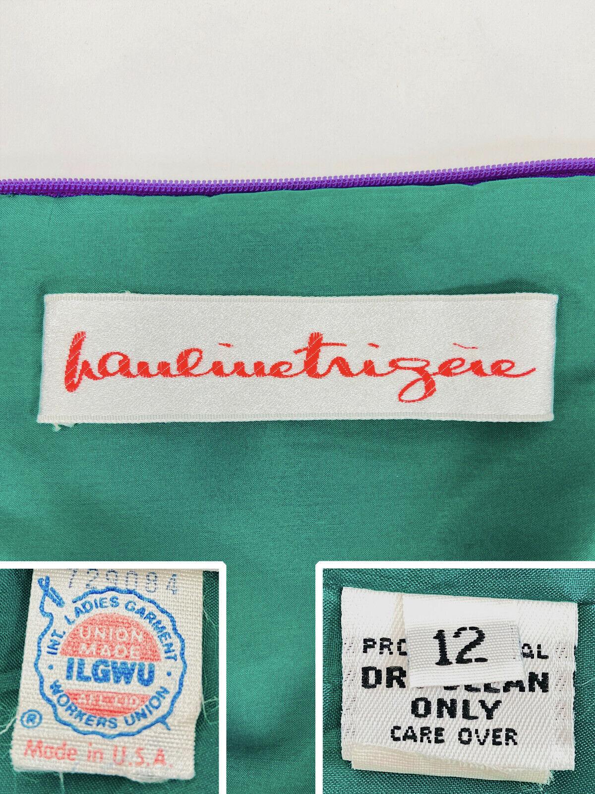 Designer Vintage 80s Silk Dress PAULINE TRIGERE S… - image 9