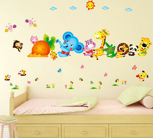 6900048 Wall Stickers Happy Cute Elephant Monkey Cartoon Animals for Kids Room