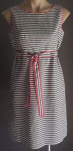 Retro-Grey-amp-White-Stripe-JESSICA-HOWARD-Waist-Tie-Dress-Size-6P-AU8-10