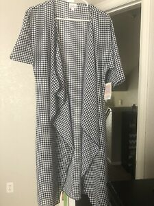 Free-Ship-LuLaRoe-Shirley-Navy-And-White-Houndstooth-Kimono-Cover-Up-Small