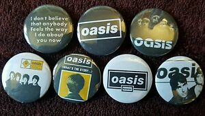 Oasis Button Badges x 7. (Set 1). Pins. Collector. Bargain :0)